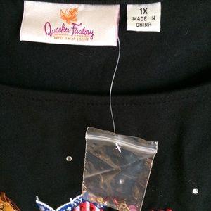 Quacker Factory Tops - Quacker Factory Top Embroidered Cowboy Boots Sz 1X